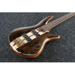 Mise en scène guitare basse électrique Ibanez, effet bois naturel avec un léger vernis. Posée dos au sol