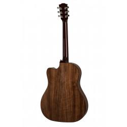 "Guitare folk électro-acoustique GIBSON ""Walnut burst"". Vue de dos"