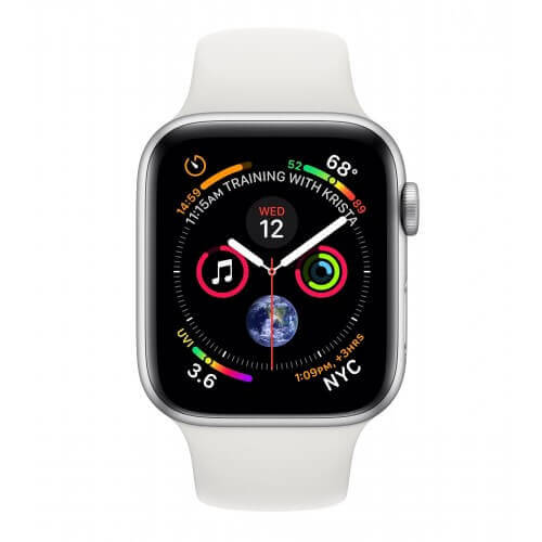 Apple Watch S4. Bracelet sport blanc. Vue de face.