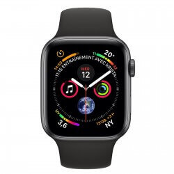 Apple Watch S4. Bracelet sport noir. Vue de face.