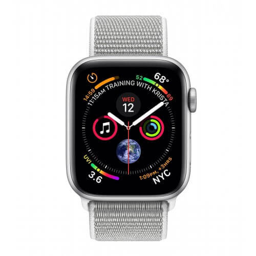 Apple Watch S4. Bracelet métal sport blanc. Vue de face.
