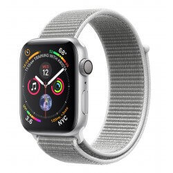 Apple Watch S4. Bracelet métal sport blanc. Vue de profil.