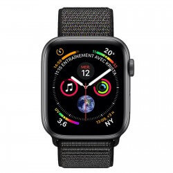 Apple Watch S4. Bracelet métal sport noir. Vue de face.