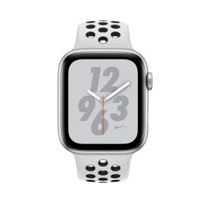Apple Watch S4. Bracelet sport blanc Nike. Vue de face.