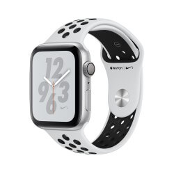 Apple Watch S4. Bracelet sport blanc Nike. Vue de profil.