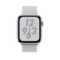 Apple Watch S4. Bracelet métal sport blanc Nike. Vue de face.