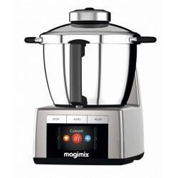 Robot cuiseur Magimix Cook expert. Couleur chrome mat. Vue de profil.