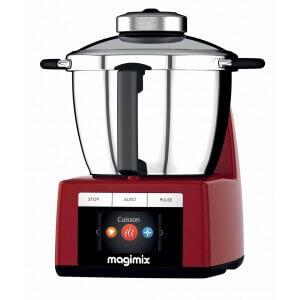 Robot cuiseur Magimix Cook expert. Couleur rouge. Vue de profil.