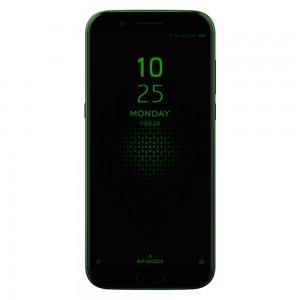 Smartphone Xiaomi Black shark 128Go. De couleur noir et vert. Vue de face.
