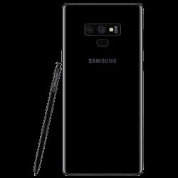 Smartphone Samsung Galaxy Note 9. De couleur Noir. Vue de dos avec stylet.