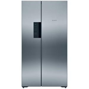 Réfrigérateur Bosch gris. Double portes, vue de face.