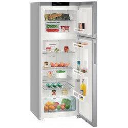 Réfrigérateur Liebherr gris. Porte ouverte, vue de face.