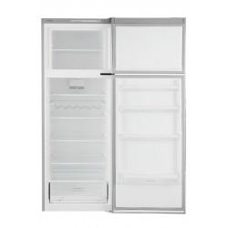 Réfrigérateur Bosch gris. Porte ouverte, vue de face.