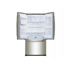 Réfrigérateur Samsung gris. Multi-portes ouvertes, vue de face.