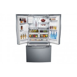 Réfrigérateur Samsung gris. Multi-portes ouvertes, vue de face avec nourriture.