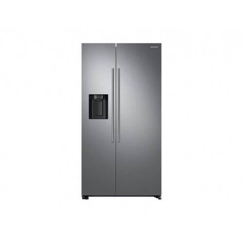 Réfrigérateur Samsung gris. Double portes, vue de face.