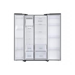 Réfrigérateur Samsung gris. Double portes ouvertes, vue de face.