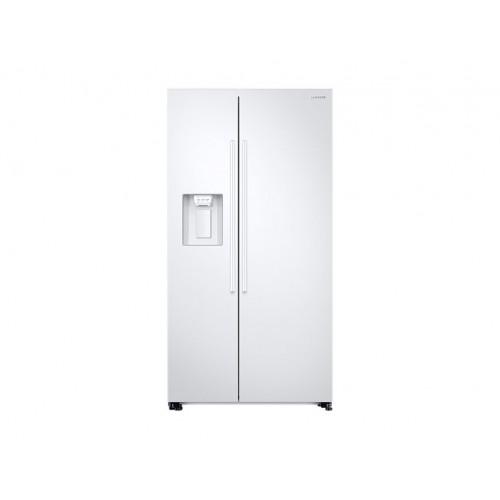 Réfrigérateur Samsung blanc. Double portes, vue de face.