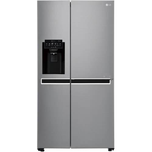 Réfrigérateur LG gris. Double portes, vue de face.