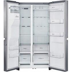 Réfrigérateur LG gris. Double portes ouvertes, vue de face.