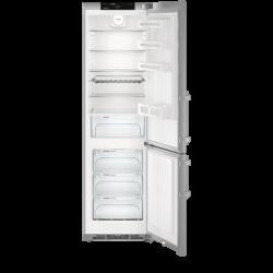 Réfrigérateur Liebherr gris. Vue de face intérieur, portes ouvertes.