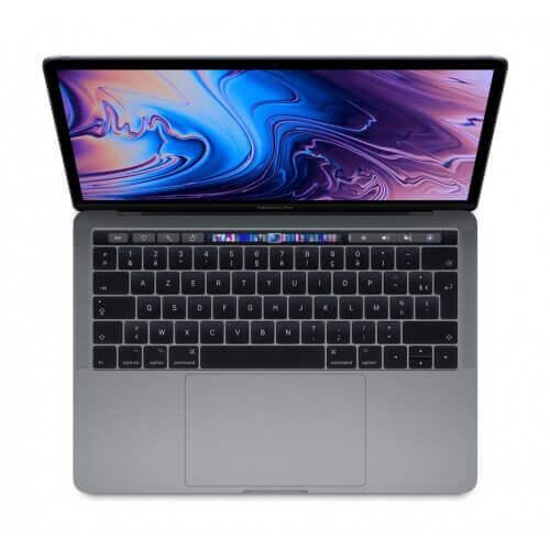 Ordinateur portable Apple. Macbook pro 13 pouces avec touchbar. Couleur gris sidéral. Vue de dessus.