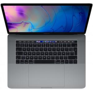 Ordinateur portable Apple. Macbook pro 15 pouces avec touchbar. Couleur gris sidéral. Vue de dessus.