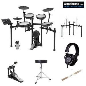 Pack batterie électronique ROLAND. Caisses, cymbales et leur support. Tabouret, baguettes et pad de configuration