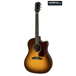 "Guitare folk électro-acoustique GIBSON ""Walnut burst"". Vue de face"