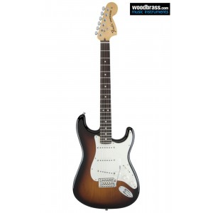 """Guitare électrique Fender, Stratocaster. Deux couleurs """"Sunburst"""". Vue de face"""