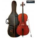 Pack violoncelle 3/4 GEWA, set allegro avec étui et son archet. Vue de face