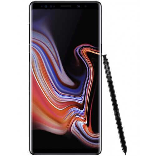 Smartphone Samsung Galaxy Note 9. De couleur Noir. Vue de face avec stylet.