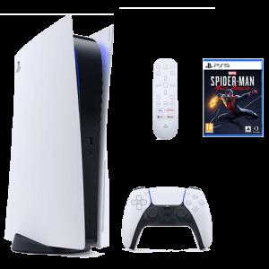 Pack PS5 + manette + telecomande + jeux spiderman pas cher en location !